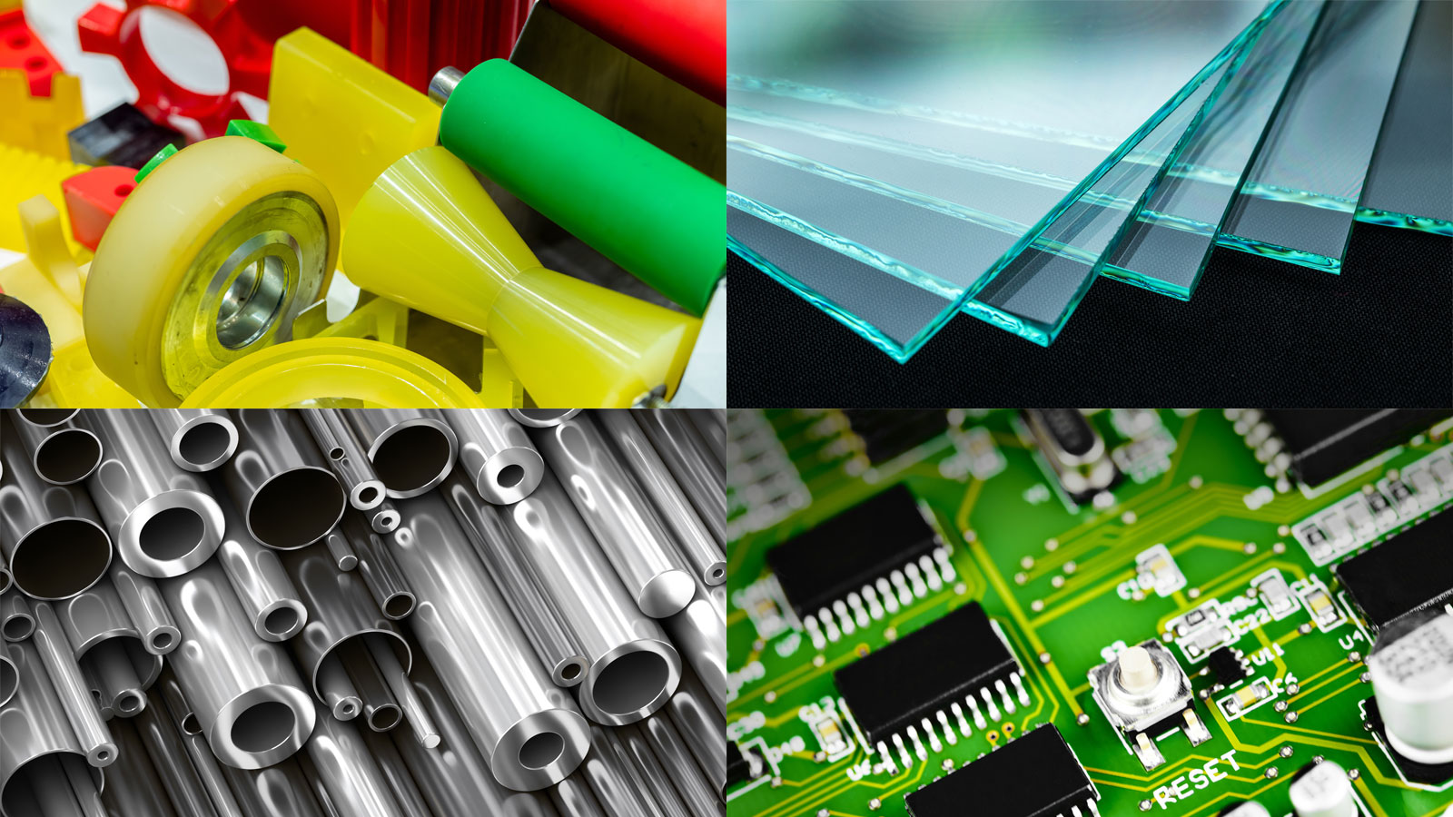 Image of substrates suitable for surface modification - plastic, metal, glass, and circuit boards
